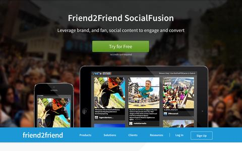 Screenshot of Home Page friend2friend.com - Friend2Friend: Engage Fans With Brands on Social - captured Sept. 19, 2014