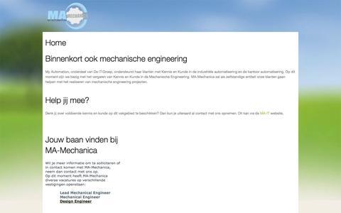 Screenshot of Home Page ma-mechanica.nl - MA – Mechanical: Mechanische engineering - captured Sept. 30, 2014