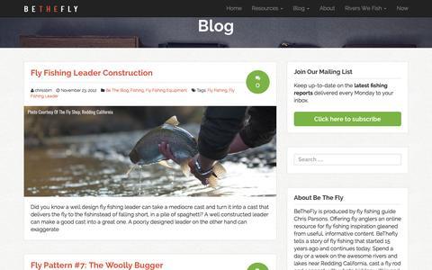 Screenshot of Blog bethefly.com - Blog - Fly Fishing - Redding California - captured Jan. 27, 2016