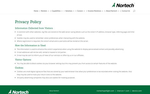 Screenshot of Privacy Page nortechsys.com - Privacy Policy - Nortech Systems, Inc. - captured Nov. 10, 2017