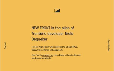 Screenshot of Home Page newfront.eu - New Front | Freelance Frontend Development - captured Sept. 30, 2014