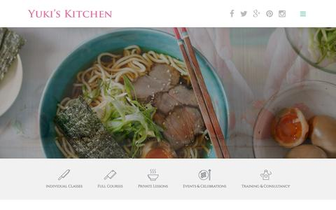 Screenshot of Home Page yukiskitchen.com - Japanese Cooking Classes/Lessons/Courses - Yuki's Kitchen - captured Aug. 13, 2015