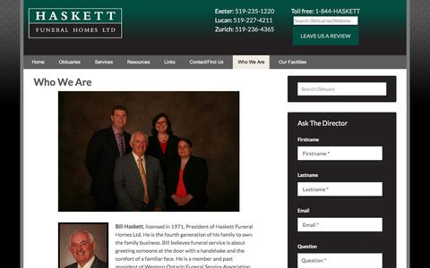 Screenshot of About Page haskettfh.com - Who We Are - Haskett Funeral Homes | Exeter, Lucan & Zurich Ontario - captured Jan. 26, 2016