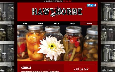 Screenshot of Contact Page hawthorneto.ca - Contact - Hawthorne Food and Drink - captured Oct. 2, 2014