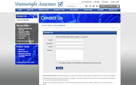 Screenshot of Contact Page wainwrightassociates.co.uk - Contact Wainwright Associates - Wainwright Associates - captured Oct. 27, 2014