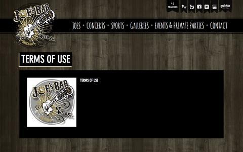 Screenshot of Terms Page joesbar.com - Terms of Use  |  Joe's Bar - captured Oct. 29, 2014