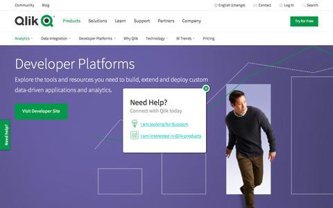 Screenshot of Developers Page qlik.com - Data Analytics for Modern Business Intelligence | Qlik - captured June 27, 2019