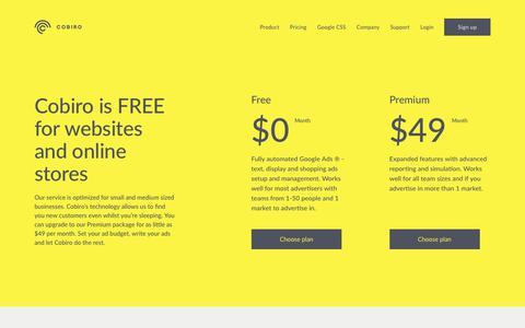 Screenshot of Pricing Page cobiro.com - Cobiro - Pricing | Cobiro - captured Nov. 2, 2018