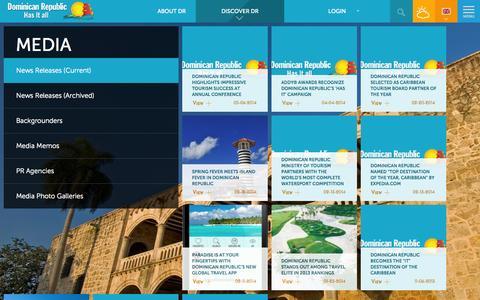 Screenshot of Press Page godominicanrepublic.com - News Releases (Current)   Dominican Republic Has it all - captured Sept. 23, 2014