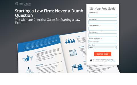 Screenshot of Landing Page mycase.com - Starting a Law Firm: Never a Dumb Question :: MyCase Legal Resources - captured April 19, 2018