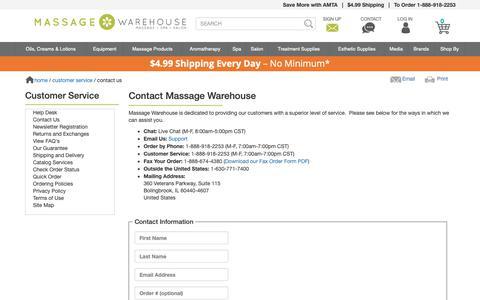 Screenshot of Contact Page massagewarehouse.com - Contact Massage Warehouse - Phone Number, Email & Address - captured June 16, 2019