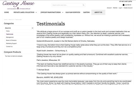 Screenshot of Testimonials Page castinghouse.com - Testimonials - About Us - captured Jan. 24, 2016