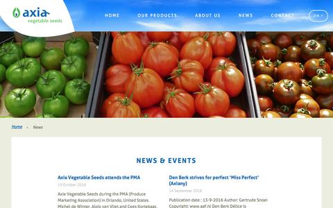 Screenshot of Press Page axiaseeds.com - News Archives - Axia Vegetable Seeds - captured Nov. 21, 2016