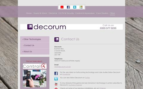 Screenshot of Contact Page decorum-technology.co.uk - Audio Visual Installers   Leicestershire, Lancashire & Cambridgeshire   Decorum Technology   Contact Us - captured Jan. 7, 2016