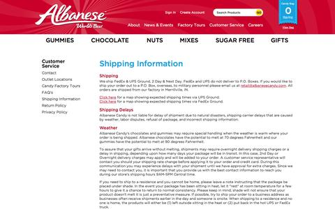 Screenshot of Privacy Page Support Page albanesecandy.com - Policies   Shipping   Return   Privacy   Albanese Candy - captured Oct. 4, 2014