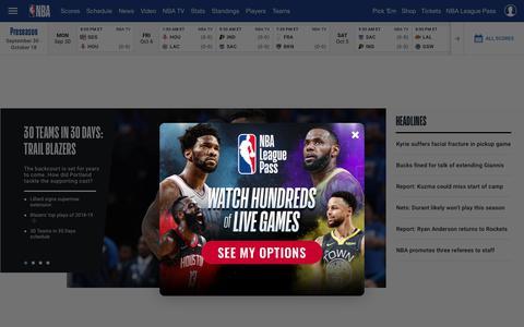 Screenshot of Home Page nba.com - The official site of the NBA | NBA.com - captured Sept. 26, 2019
