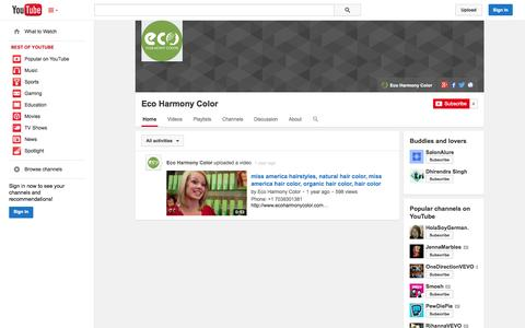 Screenshot of YouTube Page youtube.com - Eco Harmony Color  - YouTube - captured Oct. 22, 2014