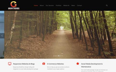 Screenshot of Home Page growtrends.com - Social Media Marketing Agency - captured Feb. 2, 2016