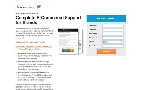 Screenshot of Landing Page channeladvisor.com - Complete E-Commerce Support for Brands | ChannelAdvisor for Brands - captured Aug. 25, 2016