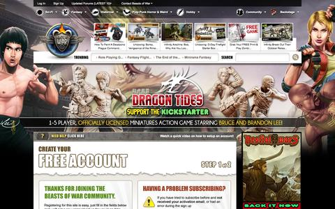 Screenshot of Signup Page beastsofwar.com - Beasts of War, Warhammer 40K, Warmachine, Flames of War, Wargaming News, Boardgames | Create an Account - captured Oct. 30, 2014