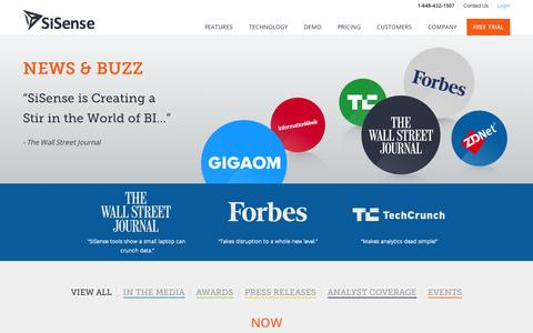Screenshot of Press Page sisense.com - News, Buzz and Press for SiSense Business Analytics - captured Sept. 12, 2014
