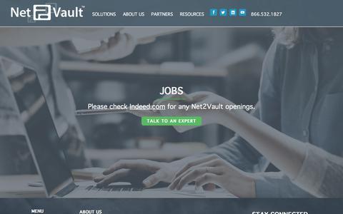 Screenshot of Jobs Page net2vault.com - Join our Team | Net2Vault Cloud Services Jobs in Portland - captured Aug. 19, 2018