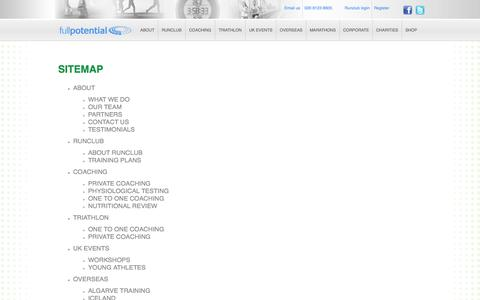 Screenshot of Site Map Page fullpotential.co.uk - Full Potential / SITEMAP - captured Oct. 6, 2014
