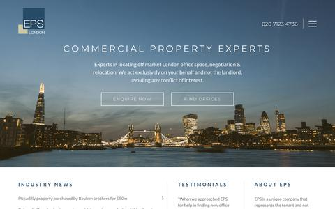 Screenshot of Home Page epslondon.com - Office Acquisition & Relocation Experts | EPS London - captured Nov. 4, 2018