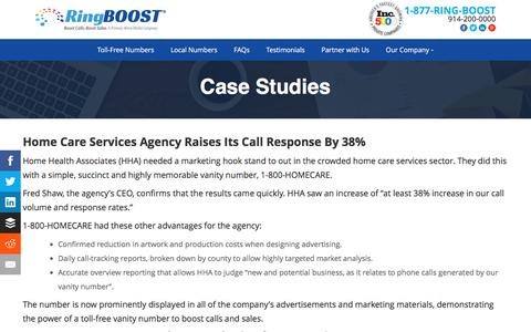 Screenshot of Case Studies Page ringboost.com - Vanity Toll Free 800 Number Service | Vanity Toll Free Numbers Case Studies | RingBoost.com - captured Dec. 8, 2016