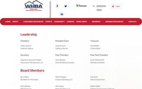 Screenshot of Team Page whba.net - Leadership  | WHBA - captured Oct. 20, 2018