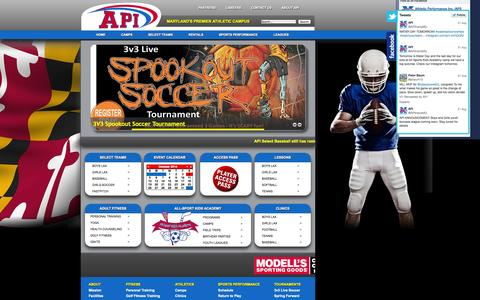 Screenshot of Home Page athleticperformanceinc.com - Welcome to API - Maryland's Premier Athletic Campus - captured Oct. 4, 2014