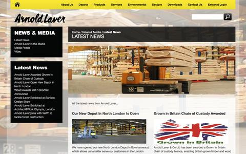 Screenshot of Press Page laver.co.uk - Latest News From Arnold Laver - captured Oct. 8, 2017