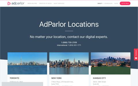 Screenshot of Locations Page adparlor.com - Company Locations | AdParlor - captured June 19, 2018