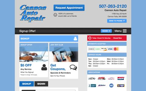 Screenshot of Signup Page cannonautorepair.com - Email Subscribe | Cannon Auto Repair in Cannon Falls, MN - captured July 18, 2015