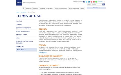 Screenshot of Terms Page epcor.com - EPCOR :: Terms Of Use - captured Sept. 23, 2014