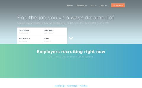 Screenshot of Home Page jobandtalent.com - Jobs and internships; find the right job with jobandtalent - captured July 11, 2014