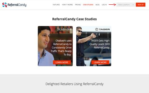 Screenshot of Case Studies Page referralcandy.com - ReferralCandy Case Studies -  Referral Marketing Customer Examples - captured Oct. 29, 2014