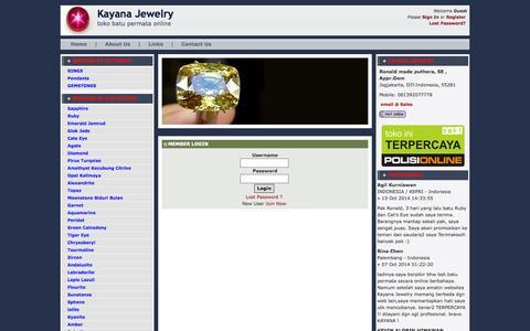 Screenshot of Login Page kayanajewelry.com - Member Login » Cincin Permata | batu permata | batu mulia | batu safir | batu akik | cincin batu - captured Nov. 3, 2014