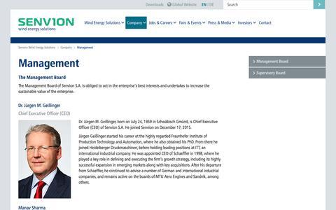 Screenshot of Team Page senvion.com - Management        senvion.com - captured Nov. 10, 2016