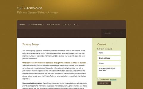 Screenshot of Privacy Page not-guilty.org - Privacy Policy | Kent Law Firm | Fullerton, California - captured Oct. 7, 2014