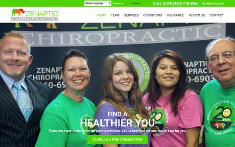 Screenshot of Home Page zenapticchiropractic.com - Chiropractor Vancouver Wa 98661 - Zenaptic Chiropractic - captured Feb. 5, 2016
