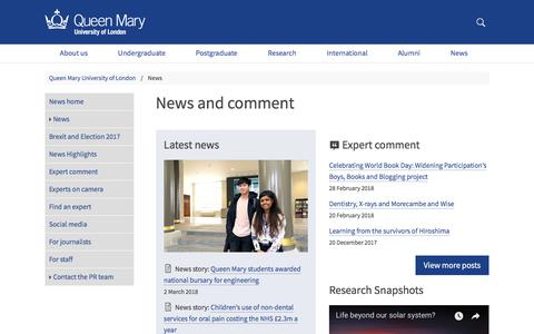 Screenshot of Press Page qmul.ac.uk - News and comment - Queen Mary University of London - captured March 3, 2018