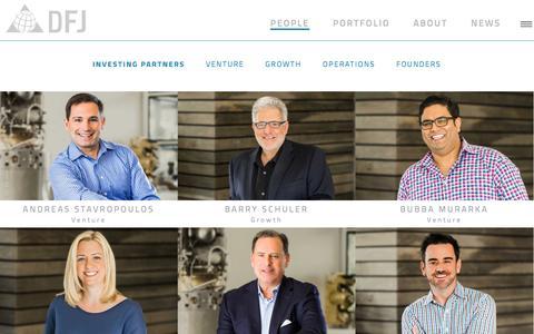 Screenshot of Team Page dfj.com - People | DFJ Venture Capital - captured Oct. 28, 2016