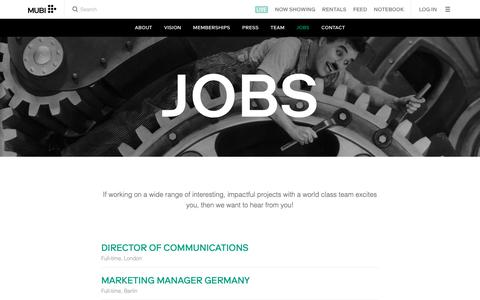 Screenshot of Jobs Page mubi.com - MUBI Jobs - captured April 8, 2019