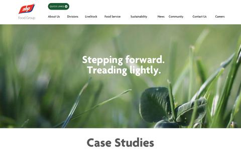 Screenshot of Case Studies Page abpfoodgroup.com - Case studies | Beef processing | Sustainability | ABP Food Group - captured Oct. 3, 2018