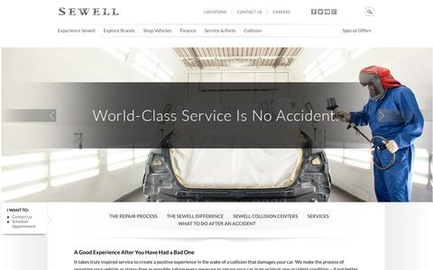 Screenshot of Services Page Locations Page sewell.com - Sewell Auto Collision Serving Dallas, Houston & San Antonio - captured Oct. 9, 2014