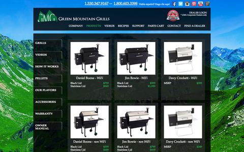 Screenshot of Products Page greenmountaingrills.com - .: GMG World Class Pellet Grills :. Pellet Smoker and Barbecue - captured Sept. 23, 2014