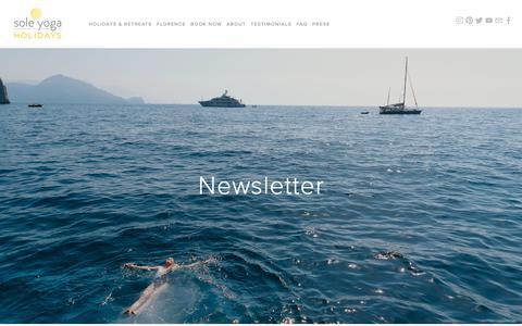 Screenshot of Signup Page soleyogaholidays.com - Newsletter — SOLE YOGA HOLIDAYS - captured Oct. 20, 2018