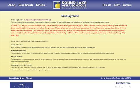 Screenshot of Jobs Page rlas-116.org - Round Lake School District - captured Oct. 23, 2017