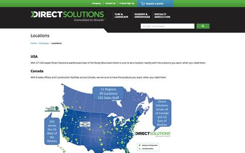 Screenshot of Locations Page growercentral.com - Servicing Canada and the USA. Find a location near you @Direct Solutions - captured Nov. 2, 2014